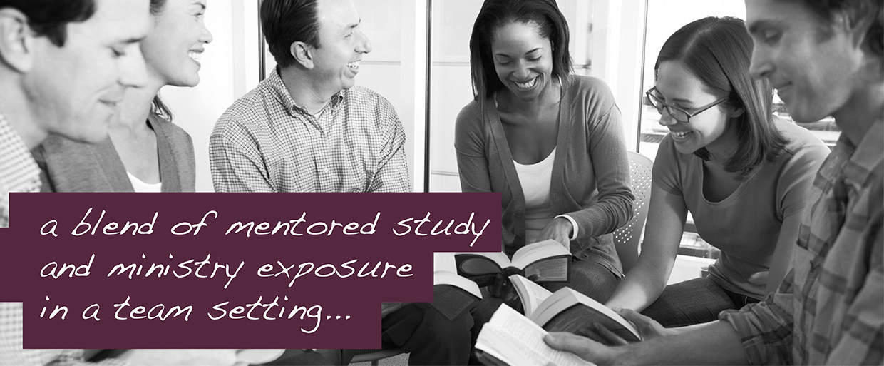 a blend of mentored study and ministry exposure in a team setting